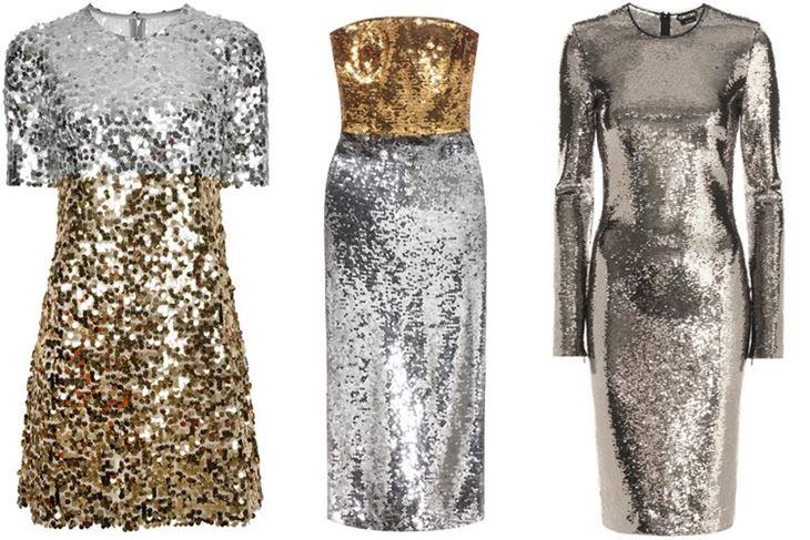Модные коктейльные платья 2017: золотые и серебряные с пайетками