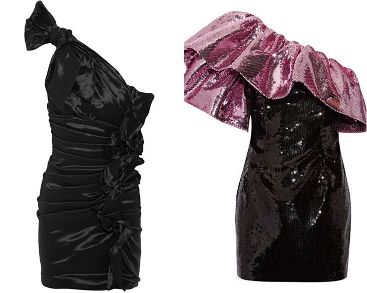 Модные коктейльные платья 2017: асимметричные на одно плечо ретро