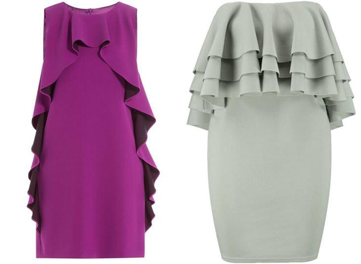 Модные коктейльные платья 2017: с крупными воланами