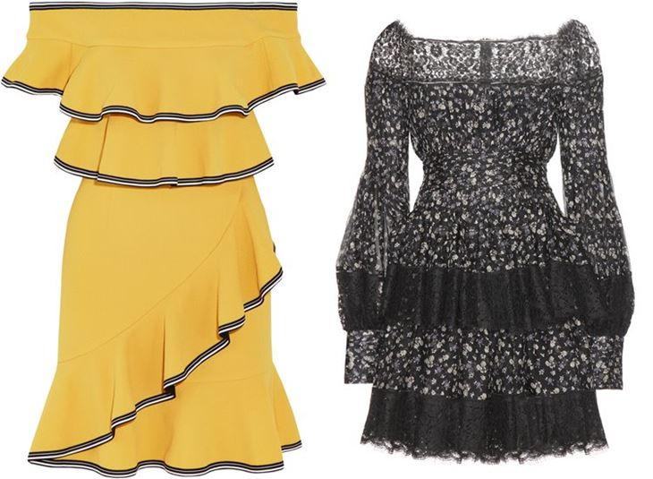 Модные коктейльные платья 2017: открытые плечи и воланы