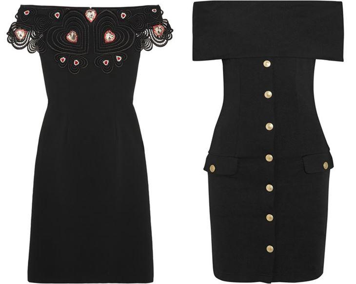 Модные коктейльные платья 2017: чёрные с открытыми плечами