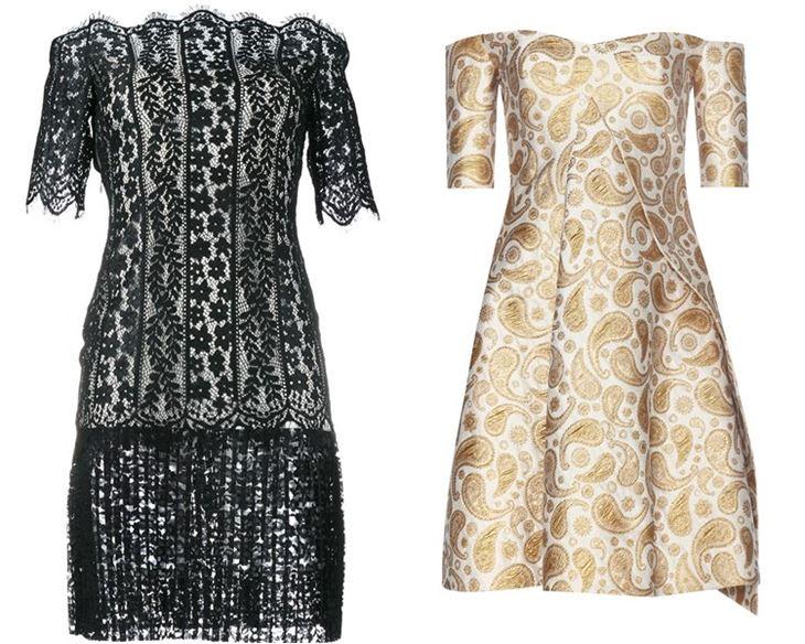 Модные коктейльные платья 2017: короткие рукава открытое декольте