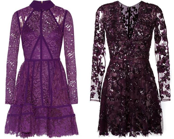 Модные коктейльные платья 2017: фиолетовые кружевные