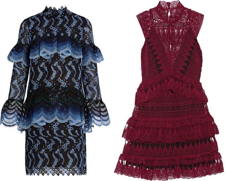 Модные коктейльные платья 2017: кружевные с воланами