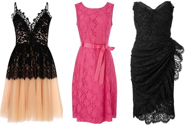 Модные коктейльные платья 2017: чёрные и розовые кружевные