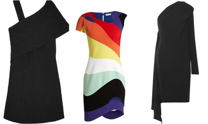 Модные коктейльные платья 2017: асимметричные с одним рукавом