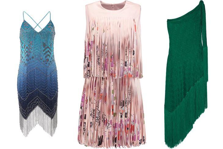 Модные коктейльные платья 2017: модели с длинной бахромой