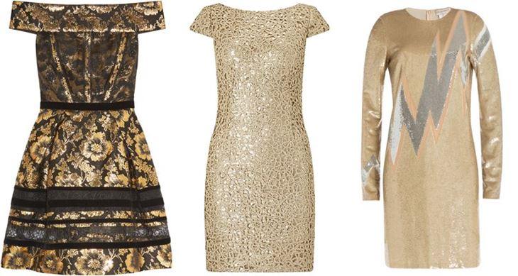 Модные коктейльные платья 2017: короткие золотые