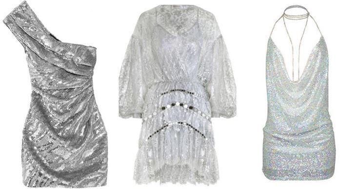 Модные коктейльные платья 2017: короткие серебристые