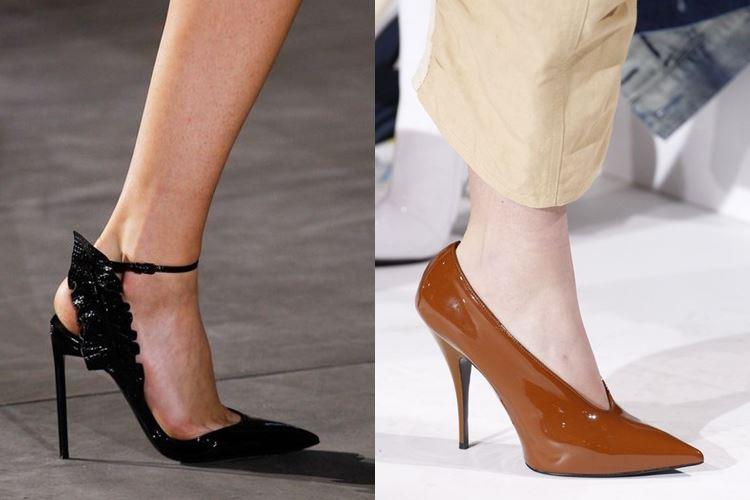 Модная женская обувь весна-лето 2017: остроносые лодочки на шпильке