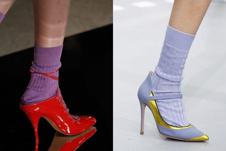 Модная женская обувь весна-лето 2017: туфли лодочки с носками