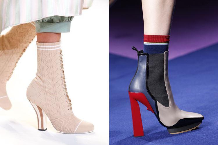 Модная женская обувь весна-лето 2017: ботильоны с носками