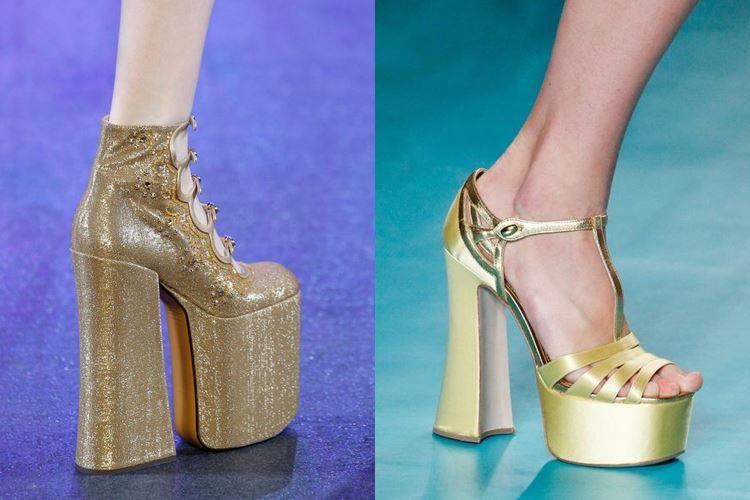 Модная женская обувь весна-лето 2017:  золотая