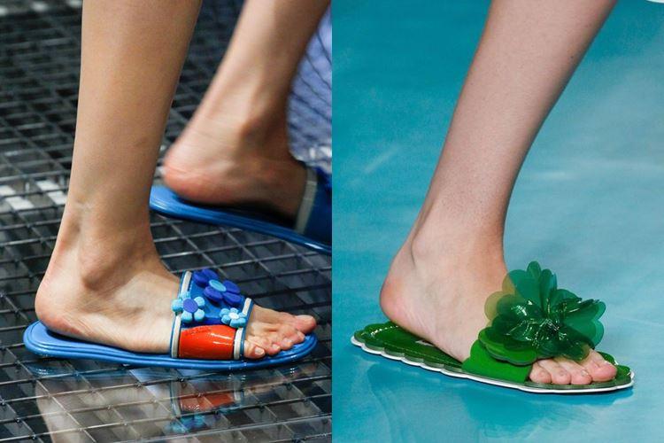 Модная женская обувь весна-лето 2017: плоские пляжные шлепанцы