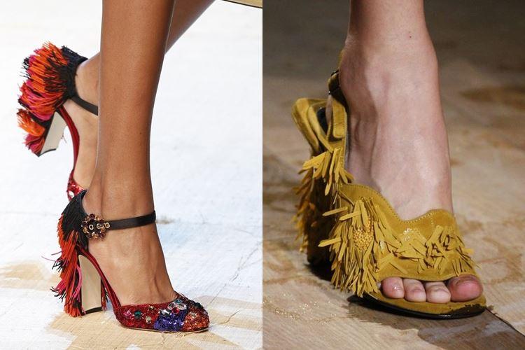 Модная женская обувь весна-лето 2017: декор бахромой
