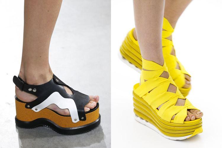 Модная женская обувь весна-лето 2017: босоножки на плоской платформе