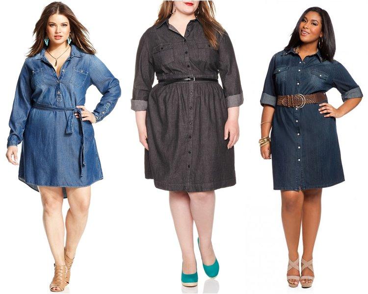 Фото джинсовых платьев на полных