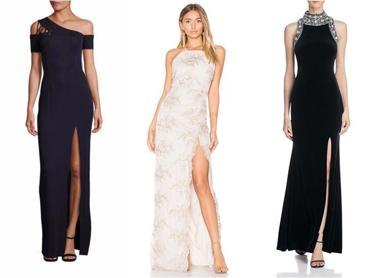 Модные вечерние платья 2017: высокий боковой разрез