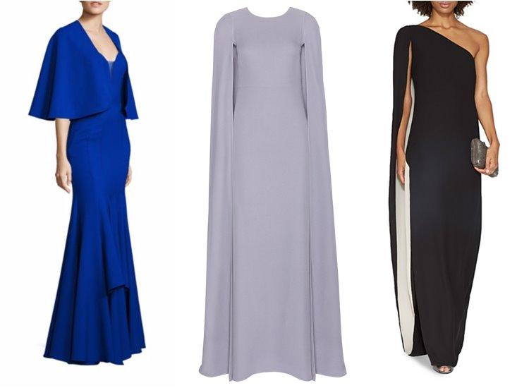 Модные вечерние платья 2017: кейпы