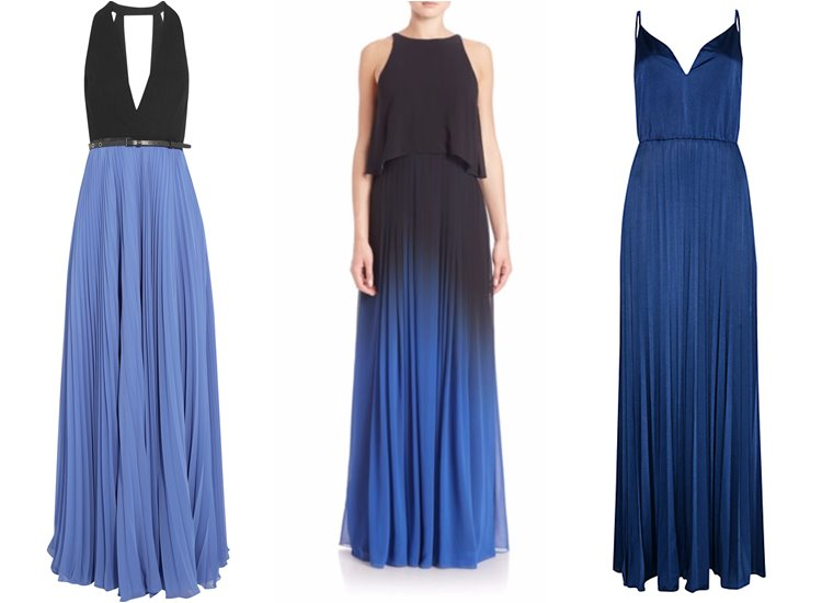 Модные вечерние платья 2017: синие плиссированные
