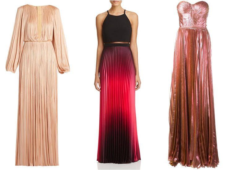 Модные вечерние платья 2017: блестящие плиссированные