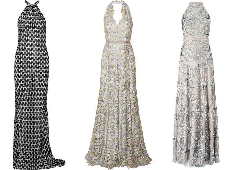Модные вечерние платья 2017: модели халтер