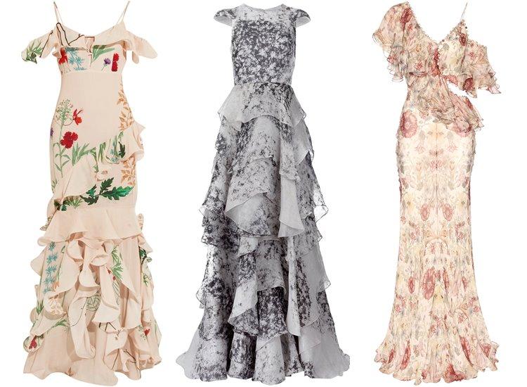 Модные вечерние платья 2017: оборки и воланы