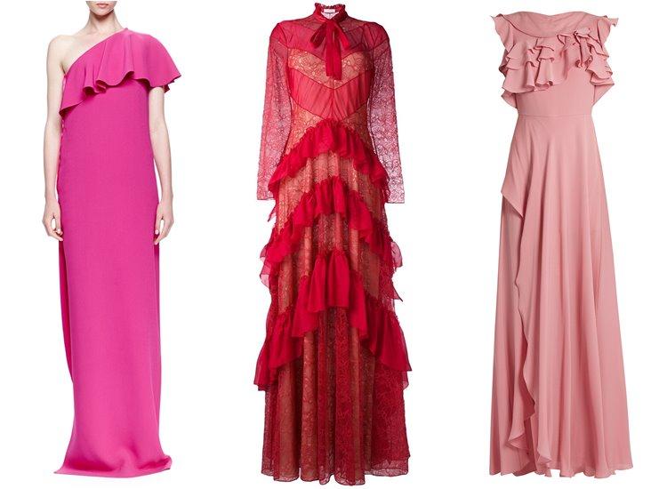Модные вечерние платья 2017: рюши и воланы