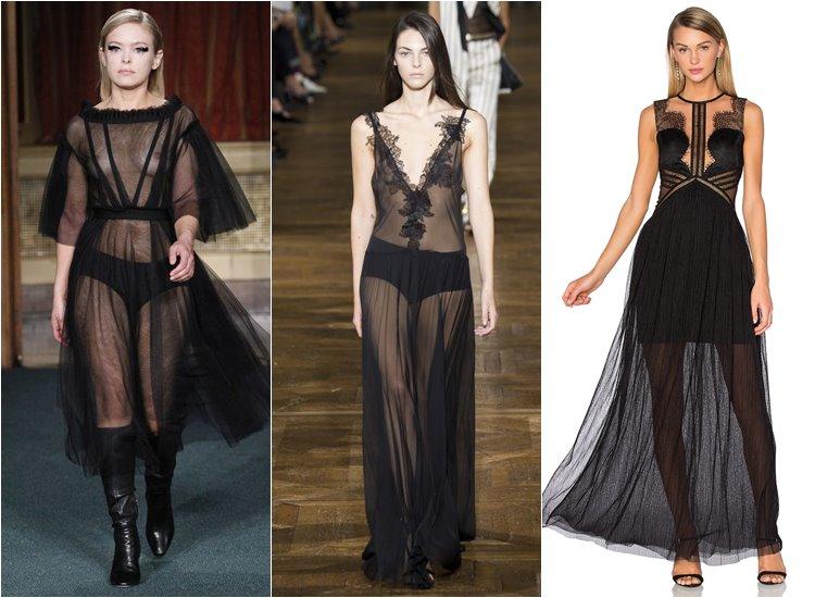 Модные вечерние платья 2017: чёрные прозрачные