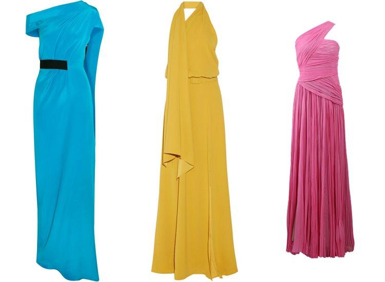 Модные вечерние платья 2017: яркие на одно плечо