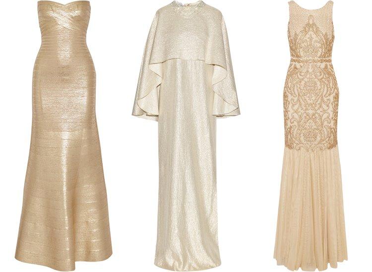 Модные вечерние платья 2017: светлые золотые