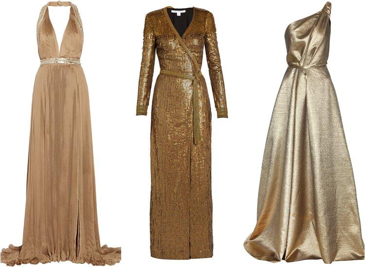 Модные вечерние платья 2017: тёмные золотые