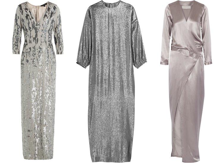 Модные вечерние платья 2017: серебристый металлик
