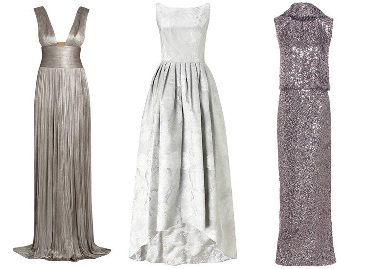 Модные вечерние платья 2017: блестящие серебряные