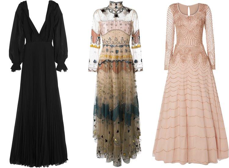 Модные вечерние платья 2017: длинный рукав
