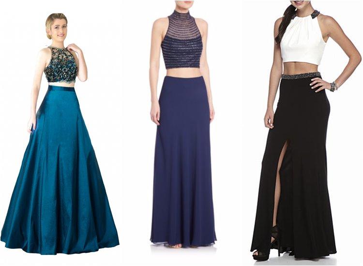 Модные вечерние платья 2017: кроп-топ с юбкой