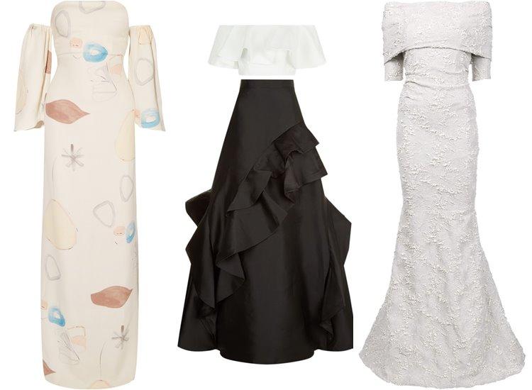 Модные вечерние платья 2017: открытые плечи