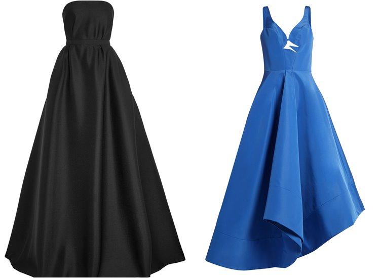 Модные вечерние платья 2017: черное и синее приталенное