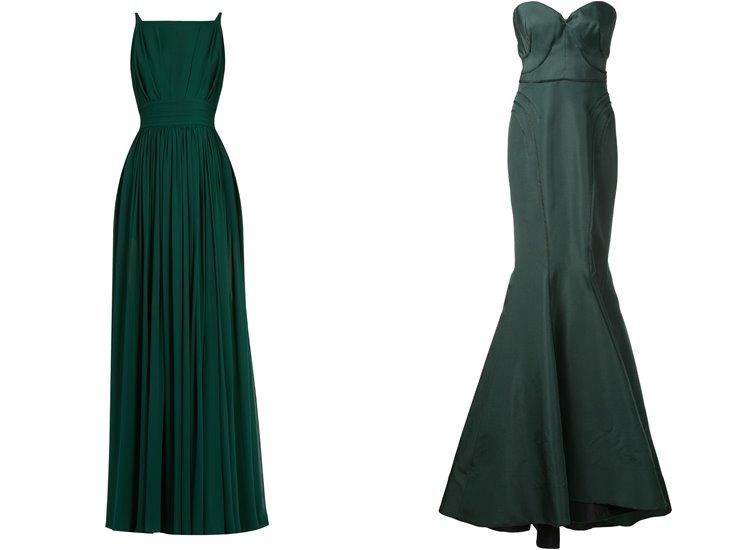 Модные вечерние платья 2017: тёмно-зелёные приталенные