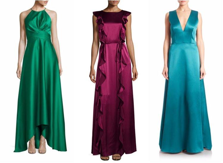 Модные вечерние платья 2017: яркие шелковые