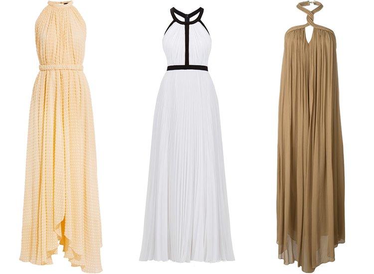 Модные вечерние платья 2017: плиссированные греческие