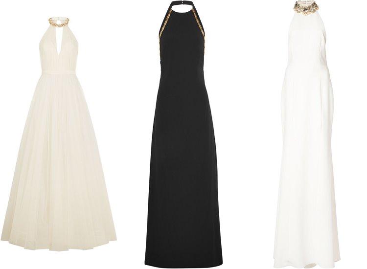 Модные вечерние платья 2017: черные и белые греческие