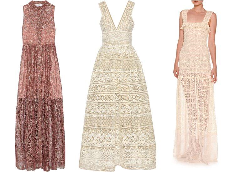 Модные вечерние платья 2017: кружевные сарафаны