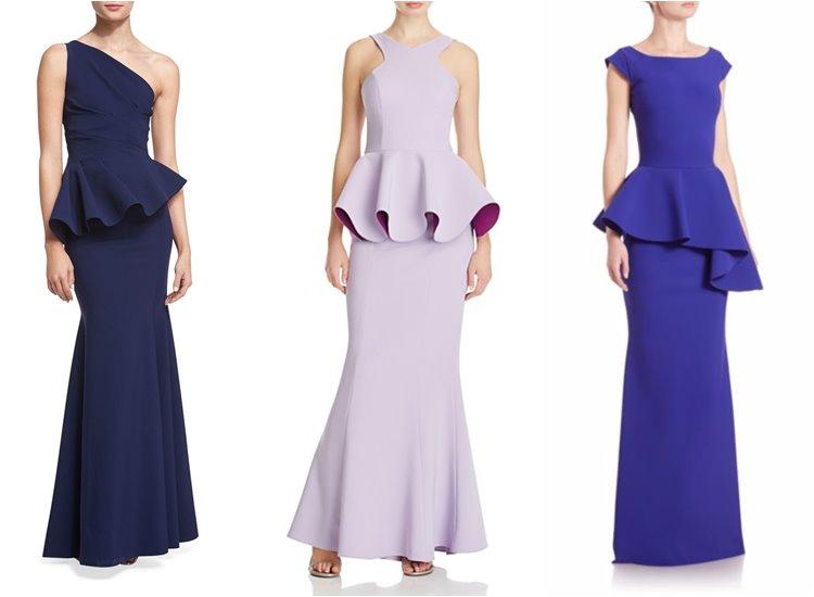 Модные вечерние платья 2017: длинные с баской