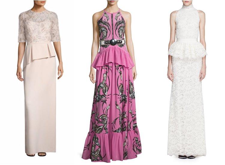 Модные вечерние платья 2017: нарядные с баской