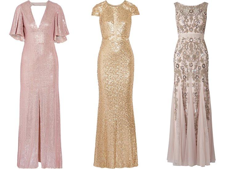 Модные вечерние платья 2017: светлые с блёстками