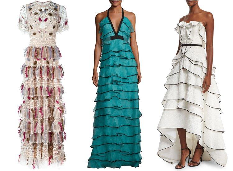 Модные вечерние платья 2017: многоярусные с воланами