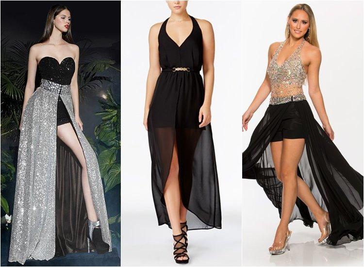 Модные вечерние платья 2017: комбинезоны с юбкой