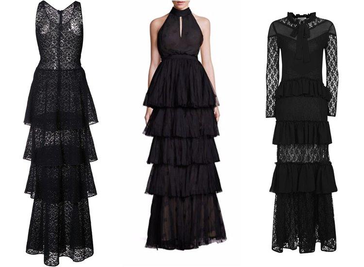Модные вечерние платья 2017: чёрные многоярусные