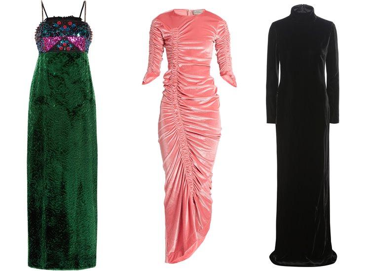 Модные вечерние платья 2017: вельветовые